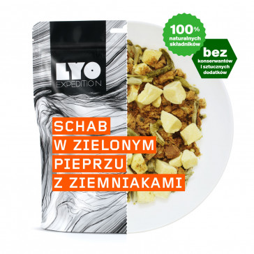 Danie obiadowe mała porcja - Schab w sosie z zielonego pieprzu