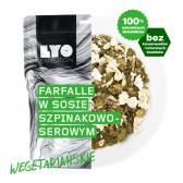 Danie wegetariańskie mała porcja - Farfalle w sosie szpinakowo-serowym