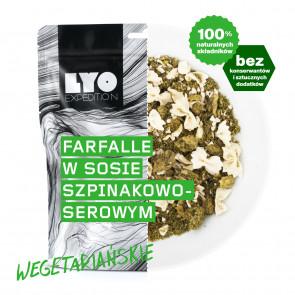 Danie wegetariańskie duża porcja - Farfalle w sosie szpinakowo-serowym