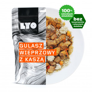 Danie obiadowe mała porcja - Gulasz wieprzowy z kaszą