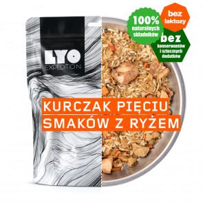 Danie obiadowe mała porcja - Kurczak pięciu smaków z ryżem