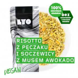 LyoFood Danie wegańskie duża porcja - Risotto z pęczaku i soczewicy z musem z awokado